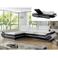 canapé de marque marque generique canapé d angle convertible en cuir jonova blanc
