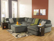 SOLEOVERSIZED MODERN GRAY FABRIC SOFA COUCH SECTIONAL SET LIVING - Microfiber living room sets
