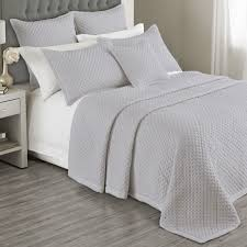 Grey Quilted Comforter Charroux Quilted Bedspread In White Grey Or Ivory U2013 Bed And Bath