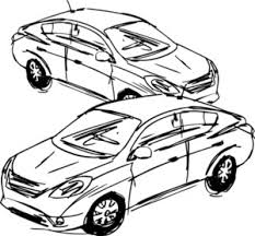 sketch cars vector illustration royalty free stock image