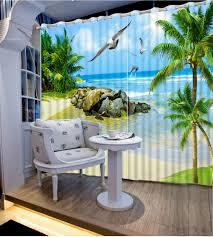 online buy wholesale beach decor curtains from china beach decor custom 3d photo sun beach blackout 3d curtains home decor sheer curtains for bedroom living room