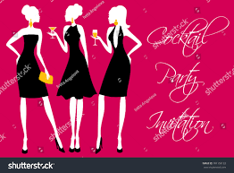 cocktail party silhouette invitation girls cocktail party stock vector 101159122 shutterstock