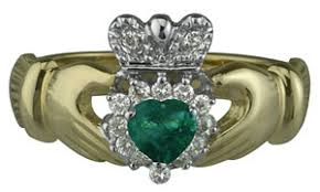claddagh set claddagh set with emerald and diamonds