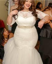 plus size wedding dress designers design three quarter illusion sleeves plus size mermaid