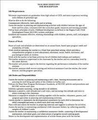 job description for teacher assistant on resume sample teacher assistant resume 8 examples in word pdf