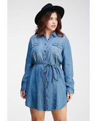 forever 21 plus size button down chambray dress in blue lyst