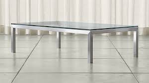 Rectangular Coffee Table With Glass Top Parsons Clear Glass Top Stainless Steel Base 60x36 Large