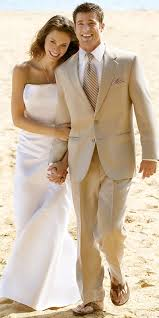 groom beige wedding suit for a beach wedding for a dress code