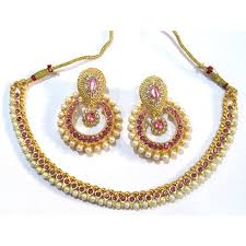 necklace with pink stone images Buy light pink stone pearl polki necklace set online get 50 off jpg