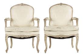 Louis 15th Chairs French Louis Xv Distressed White Painted Arm Chairs Pair Chairish