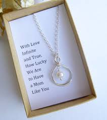 necklace gift images Sterling silver infinity pearl necklace with mother 39 s gift wording jpg