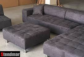 microfiber sectional with ottoman product reviews buy 4pc modern dark grey microfiber sectional sofa
