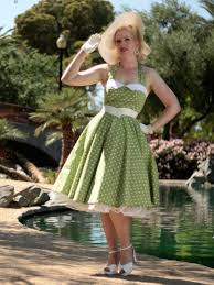1950s style green polka dot swing dress classic dame clothing