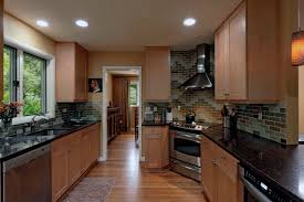 Backsplash Maple Cabinets Furniture Cream Mozaic Tile Backsplash Added By Brown Wooden