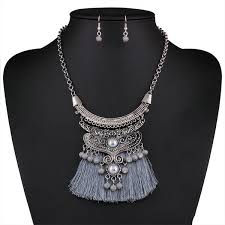 earrings with statement necklace images Wholesale gray fringe tassel statement earrings bib necklace set jpg