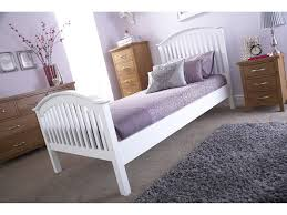 Single Wood Bed Frame 3 U0027 Single Wooden Curved High End Bed Frame White One Stop
