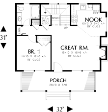 Calculate House Square Footage by Log Style House Plan 1 Beds 1 00 Baths 950 Sq Ft Plan 48 303