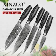 kitchen knive sets xinzuo 5pcs kitchen knives set 67 layer japanese vg10 damascus