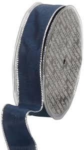 navy blue wired ribbon buy ampelco ribbon company silver wired 27 yard taffeta ribbon 1