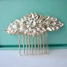 wedding hair comb gold bridal hair comb rhinestone brooch wedding comb