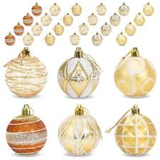 2 36 60mm set of 24 handcrafted ornaments gold