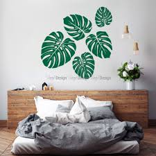 room decor wall decals vinyldesign com au vinyldesign tropical leaves wall decal