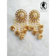 jhumka earrings the midas touch golden 5 tassels ethnic jhumka earrings