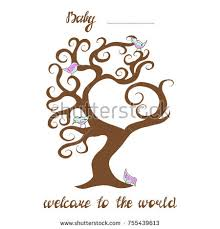 baby shower tree illustration idea card baby shower treetext stock vector 755439613