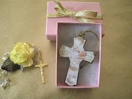 baptism ornament favors baby baptism illustrated wood cross ornament pink cromo nb italy