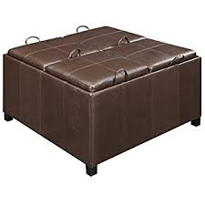 amazon com abbyson trapani leather square ottoman with 4 trays