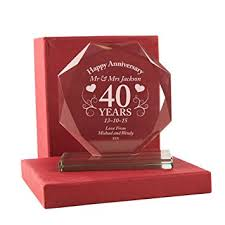40 year wedding anniversary gift 40th wedding anniversary gift personalised ruby wedding glass