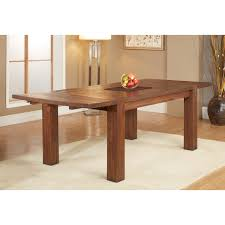 modus meadow 6 piece solid wood extending dining room set in brick