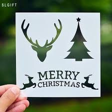 merry christmas diy crafts layering stencil painting