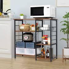 kitchen storage cabinet rack chehalis 35 4 h x 34 6 w x 15 7 d 3 tiers kitchen multifunctional storage cabinet rack