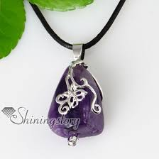 stone pendant necklace wholesale images Butterfly openwork semi precious stone amethyst necklaces pendants jpg