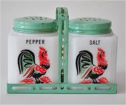 1940s vintage milk glass rooster salt u0026 pepper shakers in painted