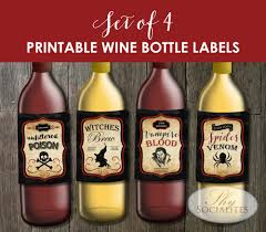 Printable Halloween Drink Labels by Set Of 4 Printable Vintage Halloween Wine Bottle Labels U2014 Shy