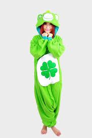 halloween party costume green clover care bear onesie pajamas