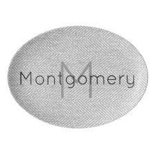 monogrammed serving platter modern gray herringbone monogram porcelain serving