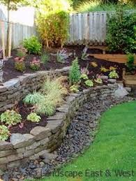 Tiered Backyard Landscaping Ideas Stacked Flower Bed Tiered Landscaping With Dry Stacked Retention