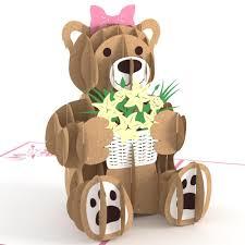 flower bear pop up card lovepop