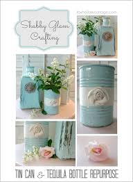 Shabby Chic Projects by Repurposed Glass Bottle And Tin Decorating 2017 Pinterest