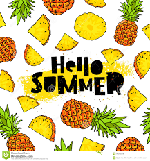 Pineapple Trend by Hello Summer Lettering Pineapple Stock Vector Image 86202529