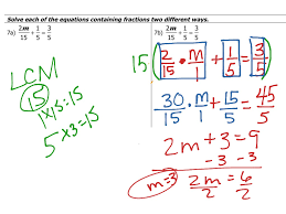 showme solving equations involving fractions