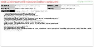 Laborer Resume Samples by Laborer Poultry Farm Resume Sample