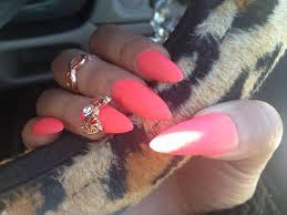 fluro orange pink stiletto nails youtube