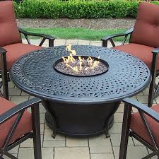 Firepit Table Oakland Living Charleston Aluminum Gas Pit Table And Chairs