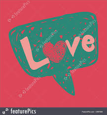 speech bubble hand drawn cards and posters love message in speech bubble stock