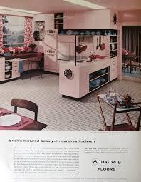 Retro Vintage Home Decor 1956 Armstrong Floor Ad Faux Brick Linoleum Floor 1950s Retro