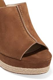lyst michael kors charlize suede wedge sandals tan in brown